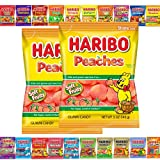 (Pack of 2) Haribo Gummy Candy Series- Twenty Flavors to Choose- 4oz to 5oz bags- (Pack of 2) (Peaches)