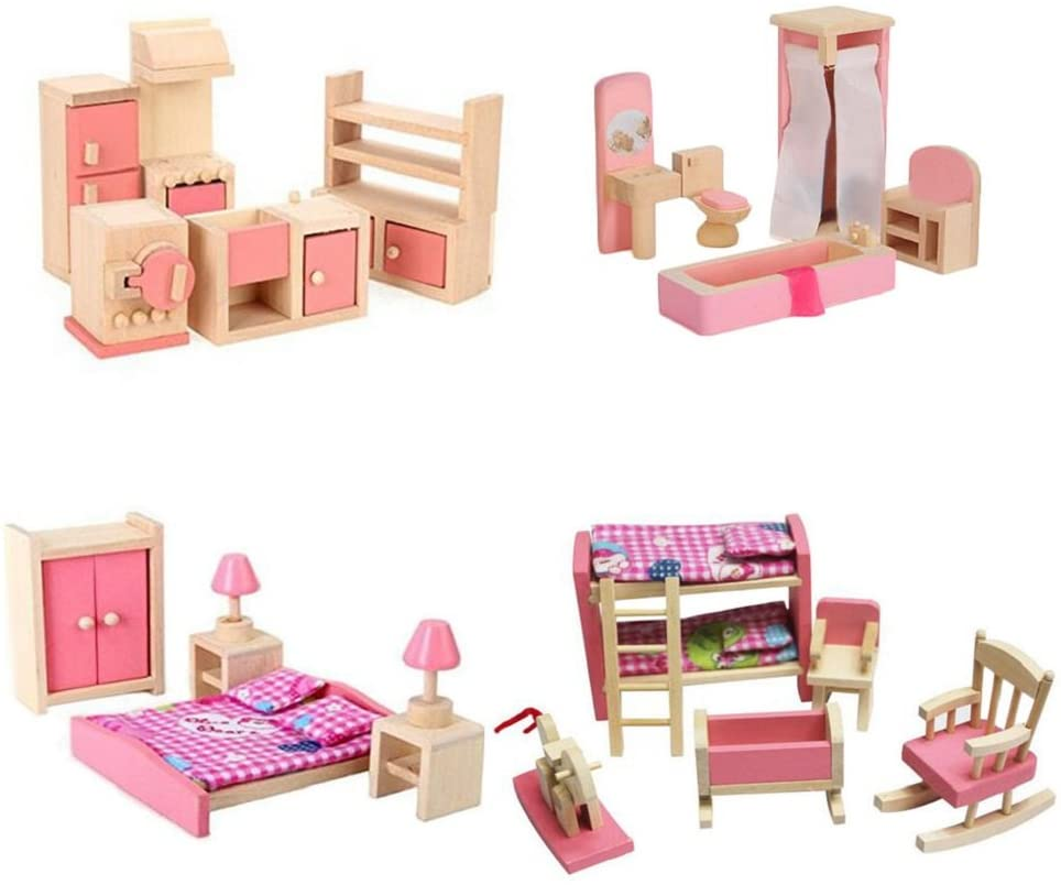 Wooden Dollhouse Furniture Set Bedroo Including Bathroom price Kitchen Save money