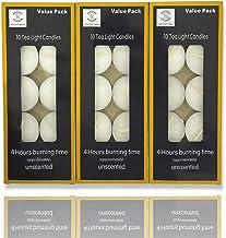 REQUISITE NEEDS Lot de 30 bougies chauffe-plat non parfumées 4 heures de combustion
