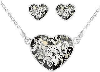 Lily-Crystal [Q4276 - Ornamento d'Argento Artigianale 'Love' in Argento patinato Nero (Collana e Fibbie) - 15x13 mm.