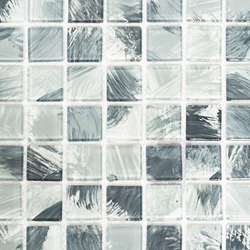 Mosaik Fliese Transluzent wischgrau Glasmosaik Crystal wischgrau für WAND BAD WC DUSCHE KÜCHE FLIESENSPIEGEL THEKENVERKLEIDUNG BADEWANNENVERKLEIDUNG Mosaikmatte Mosaikplatte