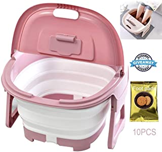 Foot Massagers, Foldable Foot Soaking Bath Tub Basin Foot Massage Heightening Plastic Rubber Portable Foot Bath Barrel With Foot Pads Can Soothing Tired Feet Relaxation Pink