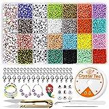 8200 Stück Perlen zum Auffädeln,3mm Mini Glasperlen,Glasperlen Set,Kleine Rocailles Perlen, Farben...