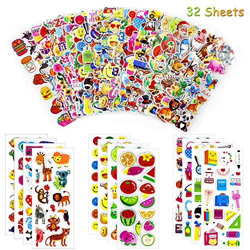 Yojoloin 3D Stickers for Children Toddlers Kids Vivid Puffy Stickers 600+ Children stickers 30 Diffrent Sheets Stickers+2 Pcs Tattoo stickers Including Animals,Fish, Dinosaurs, Numbers,Christmas Etc