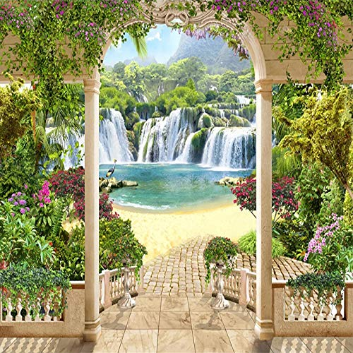 Msrahves Fotomurales 3D Jardín balcón cascada paisaje pared vinilos decorativos papel fotografico 3D Fondos de pantalla Fondo Pared Sala de estar Dormitorio TV Sofá Mural Papel tapiz