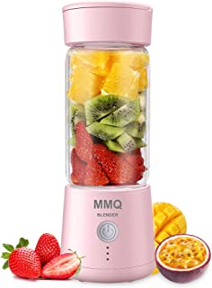 Portable Blender, MMQ Personal Size Glass Juicer Cup, Fruit Shake, Smoothies Mixer with 2000mAh USB Rechargeable Battery, 3D Six Blades, 410ML, Pink