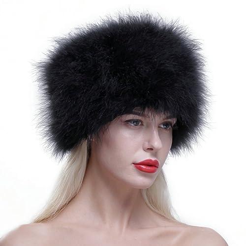 6227dd0ba282b URSFUR Women Winter Fur Cap Genuine Ostrich Feather Fur Pill Box Hat  Multicolor