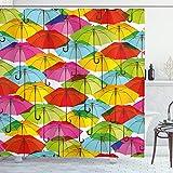ABAKUHAUS Duschvorhang, Farbige Regenschirme Bunt Hipster Vintage Design Fröhlicher Ästhetischer Digital Druck Design, Blickdicht aus Stoff mit 12 Ringen Waschbar Langhaltig Hochwertig, 175 X 200 cm