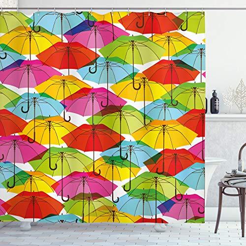 ABAKUHAUS Duschvorhang, Farbige Regenschirme Bunt Hipster Vintage Design Fröhlicher Ästhetischer Digital Druck...