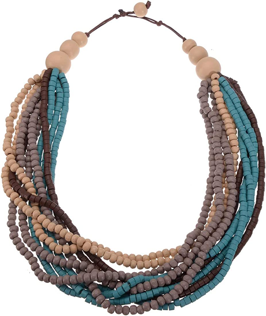 Mozhuo Boho Multilayer Wood Beaded Statement Necklace Chunky Collar Choker Bib Necklace for Women Novelty Jewelry Handmade (Multicolor Strands Wooden Necklace)
