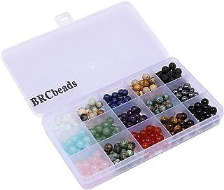 Gemstone Beads, BRCbeads 8mm Round 15 Color Assorted Box Set Onyx Amazonite Lapis Lava Crystal Energy Stone Healing Power Loose Beads for Jewelry Making
