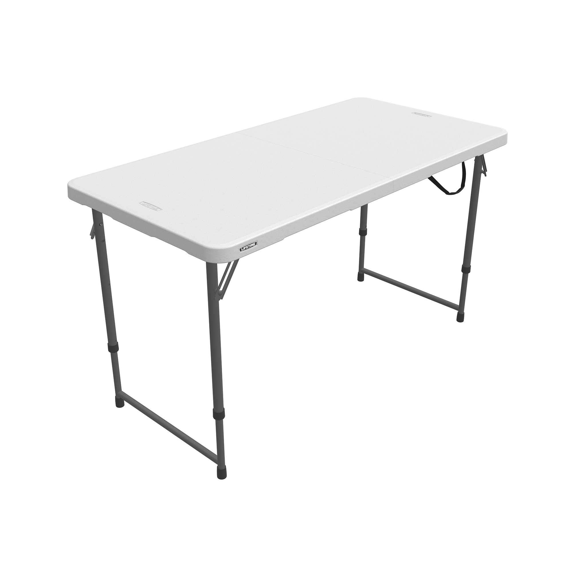Lifetime 4 x 2 ft (122 x 61 cm) Rectangular Light Commercial Fold-in-Half Folding Table with 3 Adjustable Heights of 22/29/36 in (56/74/91 cm)
