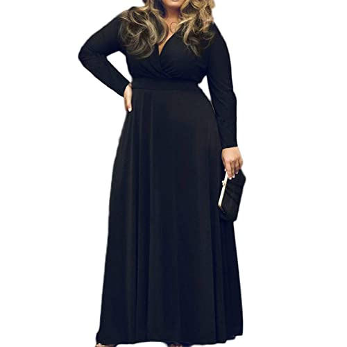 c5609f1a8b9d POSESHE Women s Solid V-Neck Short Sleeve Plus Size Evening Party Maxi Dress
