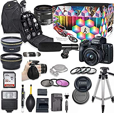 Canon EOS M50 Mirrorless Digital Camera with 15-45mm Lens Kit (Black) + Wide Angle Lens + 2X Telephoto Lens + Flash + SanDisk 32GB SD Memory Card + Video Creator Accessory Bundle by Canon