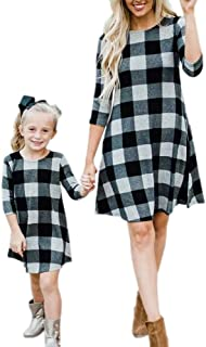 Mommy and Me Dresses Plaid 3/4 Sleeve Parent-Child Outfits Midi Dress with Pockets