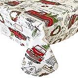 Newbridge Farm Fresh Vintage Look Christmas Tree Holiday Print Vinyl Flannel Backed Tablecloth, Nostalgic Retro Christmas Easy Care Wipe Clean Tablecloth, 52 Inch x 52 Inch Square