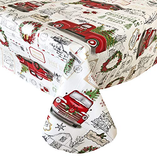 Newbridge Farm Fresh Vintage Look Christmas Tree Holiday Print Vinyl Flannel Backed Tablecloth, Nostalgic Retro Christmas Easy Care Wipe Clean Tablecloth, 52 Inch x 70 Inch Oblong/Rectangle