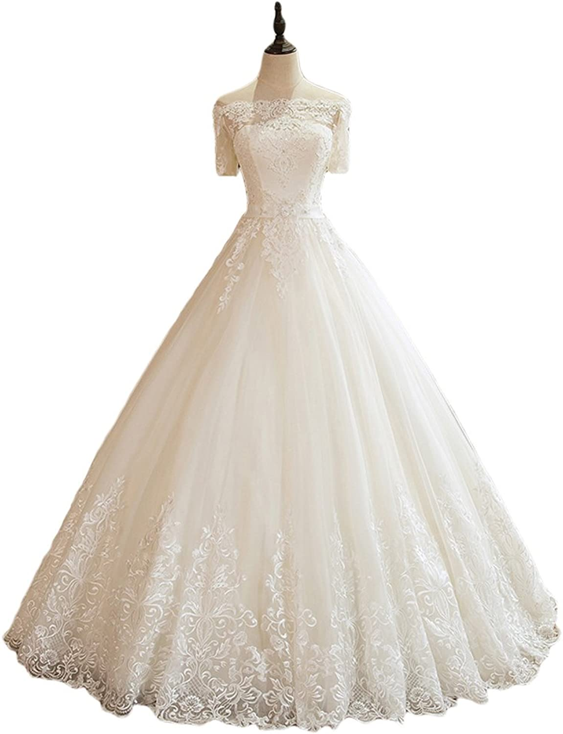 Liyuke Women's Off Shoulder Wedding Dresses Ball Gowns Lace Appliques Bridal Dress with Sleeve