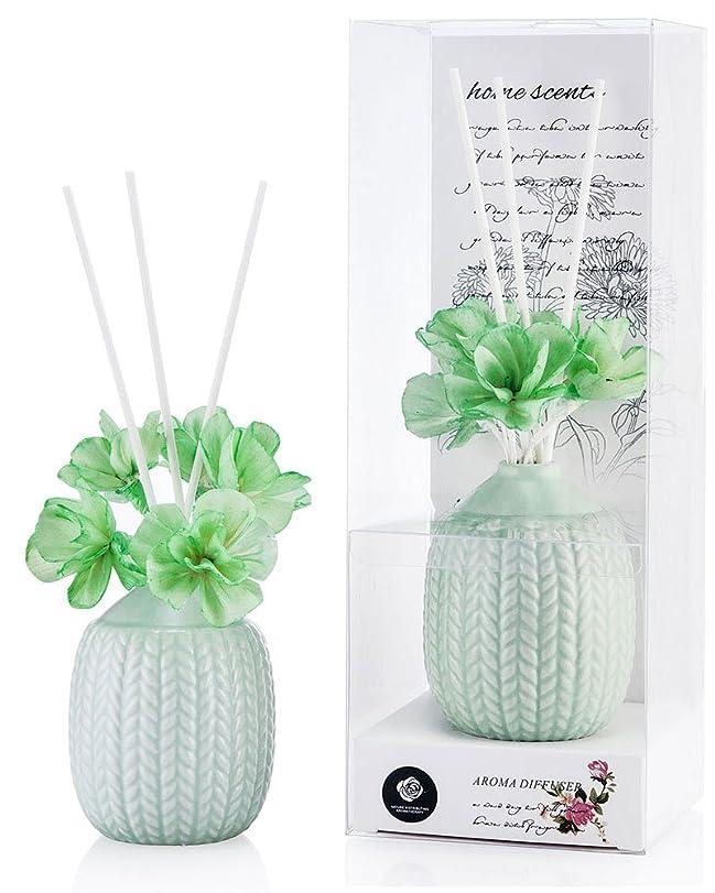 微妙定期的にミケランジェロパステルカラー ルームフレグランス /芳香剤 アロマ スティック リードディフューザー (花:緑、香り:ユリ&ジャスミン)