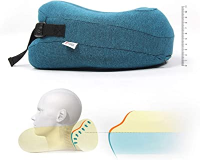 Huaide Neck Pillow Travel Kit Air Travel Pillow with Bag Eye Mask Earplugs Comfy Memory Foam Pillow for Flight Office Nap Washable Blue