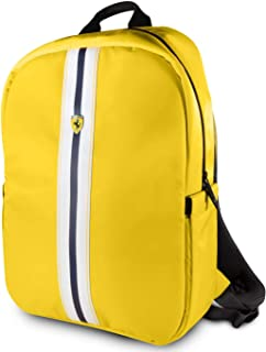 "Ferrari 15"" Backpack Nylon PU Carbon Dual Compartment for 15.6"" MacBook Pro Bag and a Slim-Fit Pocket for an iPad, iPad Mini, or Tablet up to 10.1'' with USB COONECTOR Computer Bag Yellow"