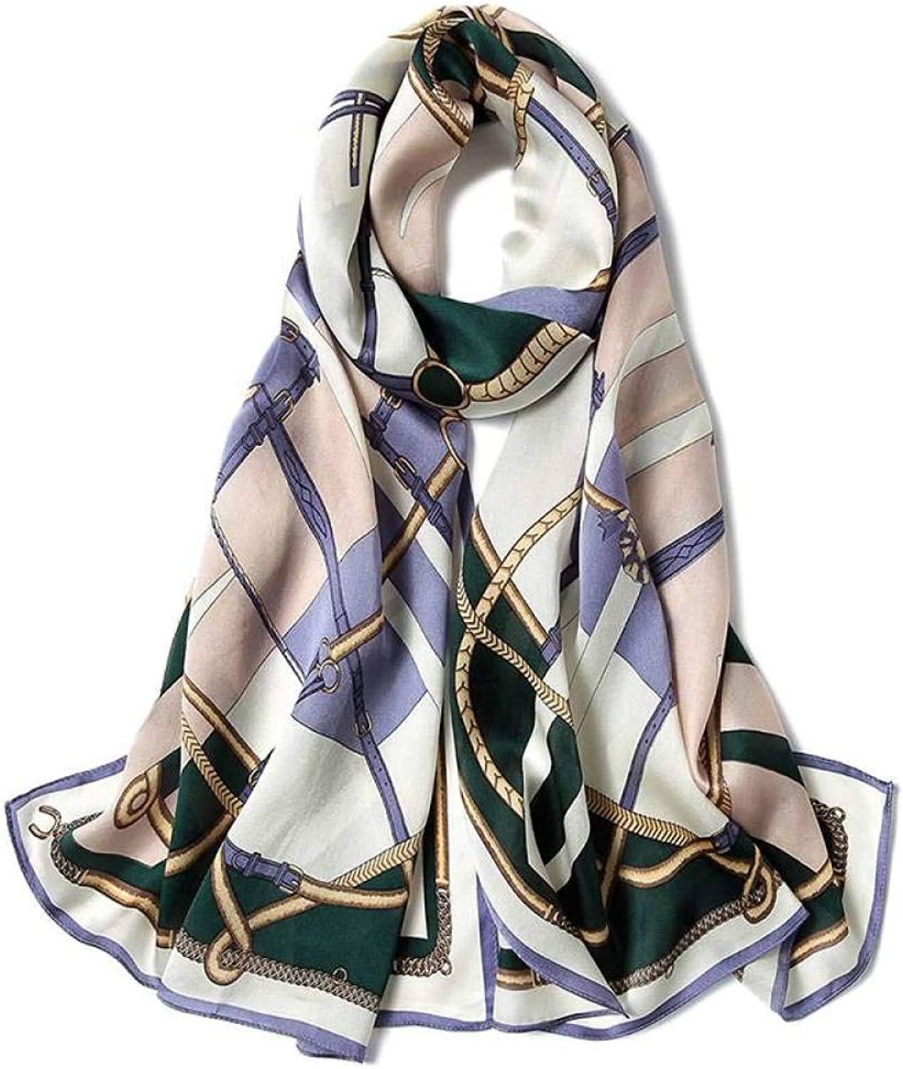 Women's Silk Scarf Printed Shawl Chain Pattern MultiFunction Long Section Gift Hqysjin