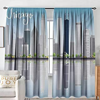 Rod Pocket Blackout Curtain Chicago Skyline,Skyscrapers Lake Michigan Illinois Classic American Scenery Street,Baby Blue Pale Grey,Decor/Room Darkening Window Curtains 54