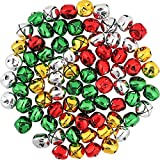 OUTUXED 168Pcs 1Inch Jingle Bells Colorful Christmas Metal Bells Craft for Festival Decoration DIY Charms...