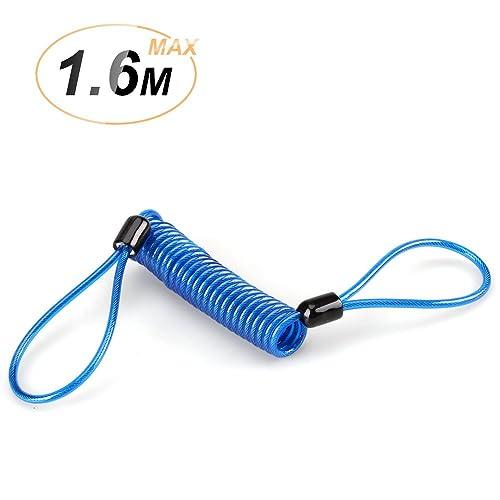 AGPTEK 1.5m Cable de Rappel RC1 Cables Antivol à Ressort pour Bloque Disque Moto Vélo Scooter- Bleu