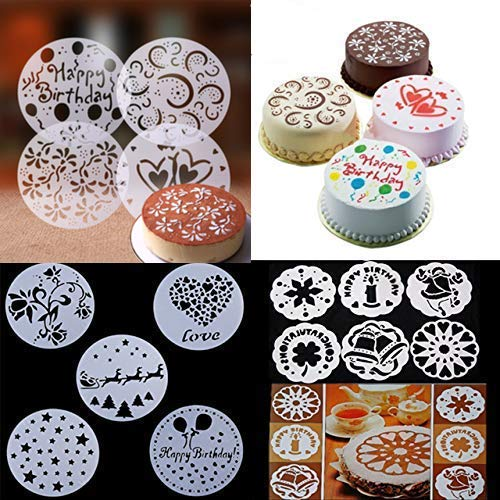 15-Pack Cake Decorating Stencil Molds, Magnoloran...