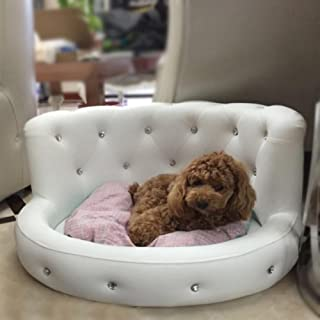 Garden Pets Dog Bed Princess Tactic VIP Bichon Diamond Puppy Kennels Bed Washable Leather Summer Pet Sofa Luxury S white D...