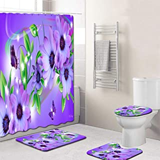 Jessie storee 4PCS Flower Shower Curtain Bathroom Mat Set Dry and Wet Separation Non Slip Toilet Pad Cover Bath Mat Toilet Cover Seat Rug Machine Washable Adds Great Perspective