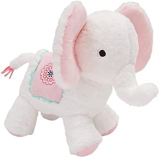 Lambs & Ivy Boho Elephant White/Pink Plush Stuffed Animal Toy - Flower Girl