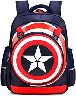 Kids Backpack,Captain America Waterproof Comic School Bag for Boys(Dark Blue)