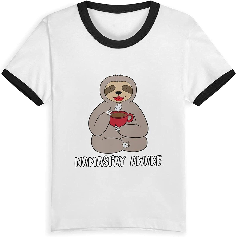 Namastay Awake Sloth Spirit Animal Coffee T-Shirts Novelty for Girls Tees with Cool Designs