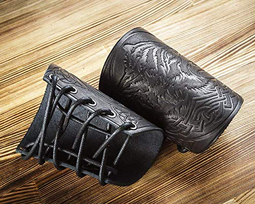 """Hand-Made Full Grain Leather Wrist Cuffs Bracers - Unique Gift LARP Gauntlet - Wristbands - LARP Accessories Viking Cosplay Armor Bracelet – Wolf Embossing Archery Armguard 5"""""""