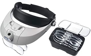 Head Mount Magnifier with Detachable LED Head Lamp - Cefrank Handsfree Jeweler Magnifier Magnifying Glass Loupe (Bi-LENS)
