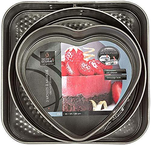 Backmischungen Bauckhof Dinkel Streuselkuchen Schneller Apfelkuchen Schneller Käsekuchen im Set mit quadratisch rund und Herz Backform Springform Kuchenform Ø 22 -24 und 26 cm Antihaftbeschichtung