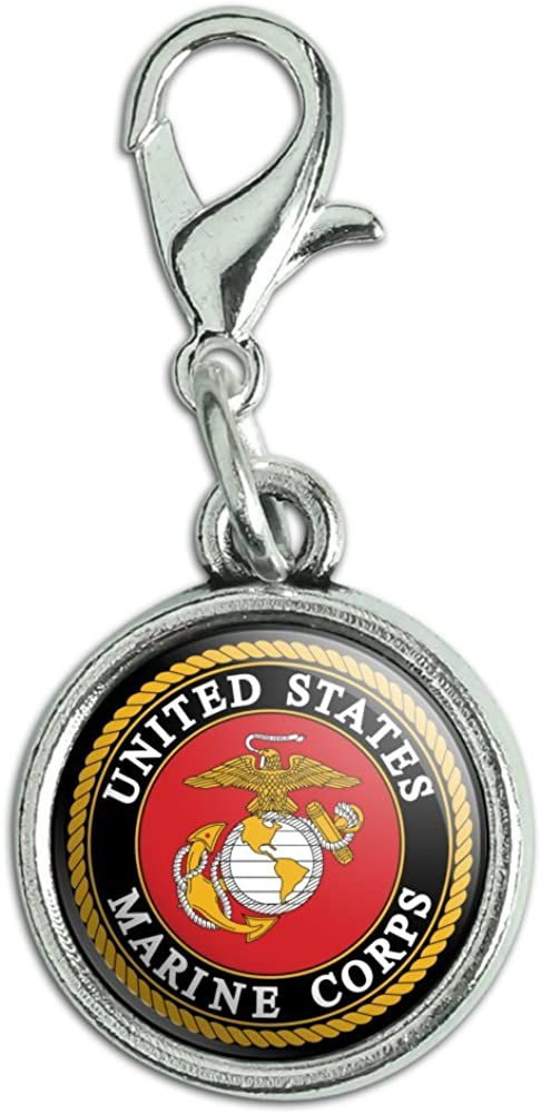 GRAPHICS & MORE Marines USMC Emblem Black Yellow Red Officially Licensed Antiqued Bracelet Pendant Zipper Pull Charm with Lobster Clasp