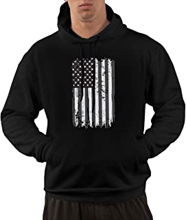 Men's Distressed Black USA Flag Hoodie - Vintage Hooded Sweatshirts Apparel with Pockets