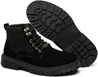 Xujw-shoes store, 2019 Mens New Lace-up Flats Mens Ankle Boot for Men Work Boot Round Toe Lace Up Rubber Sole Durable Breathable Soft Leather Patchwork  Soft Stitching Wear-Resisting Suede Black