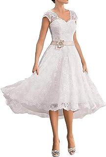Abito da sposa con scollo a V in pizzo, elegante, abito da sera, lunghezza al ginocchio, taglie grandi