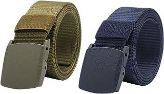ABOOFAN 2 Pcs Canvas Belt Lightweight Waist Band Plastic Buckle Adjustable Ourdoor Training Waist Webbings (Green+ Dark Blue)