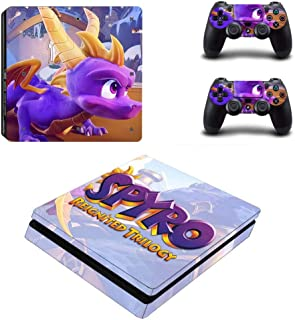 Playstation 4 Slim Skin Set - Spyro Reignited Trilogy HD Printing Vinyl Skin Cover Protective for PS4 Slim Console and 2 PS4 Controller by Mr Wonderful Skin
