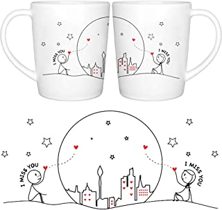 BOLDLOFT Miss Us Together His and Hers Coffee Mugs- Long Distance Relationships Gifts, Long Distance Mugs, Valentines Gifts for Boyfriend for Girlfriend, LDR Gifts, His and Hers Couples Gifts