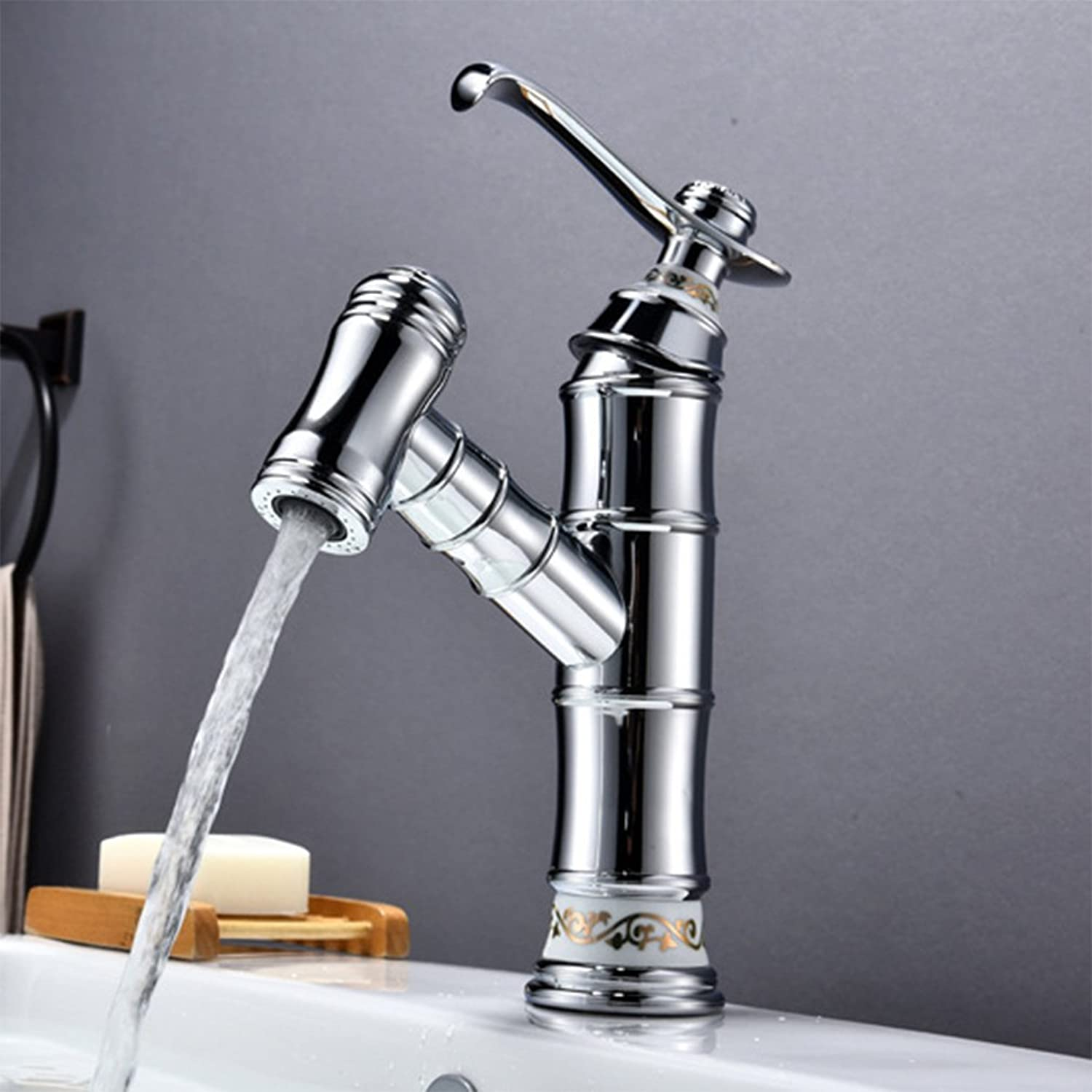 QJIAXING Basin Faucet All Copper Pull Type Black Patina Chrome Plated Telescopic Hot And Cold Mixed Taps Bathroom Sink 2 Kind Of Water Outlet Methods,Chrome
