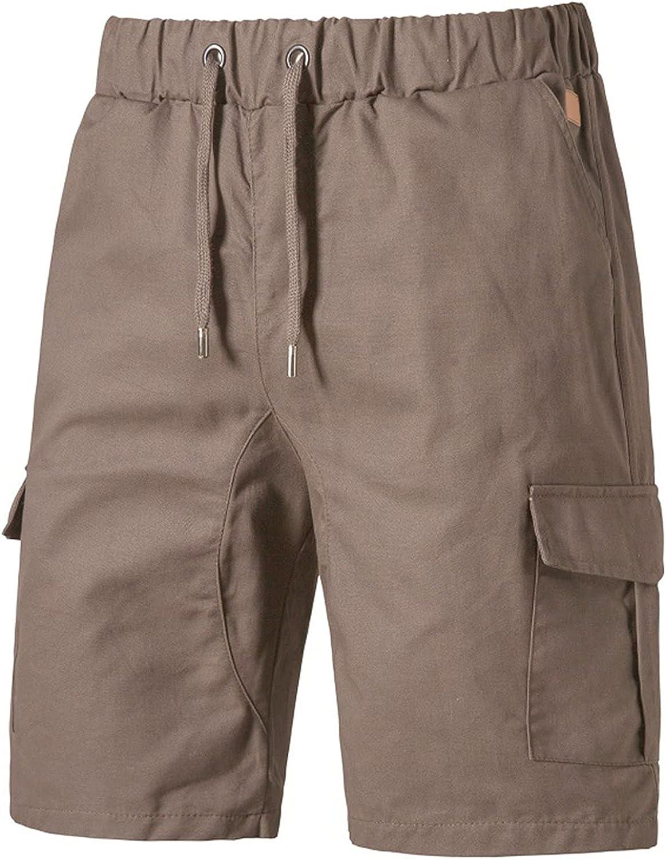 Blivener Mens Cargo Shorts Casual Comfortable Workout Shorts Drawstring Pockets Elastic Waist Jogger Tactical Shorts Brown