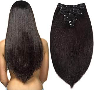 Clip in Double Weft Hair Extensions Human Hair Black Clip in Extensions Brazilian Human Hair Double Weft Clip in Thick Human Hair Extensions Grade 8A 8Pieces/Lot 120g 20Clips (18'', Nature Color)