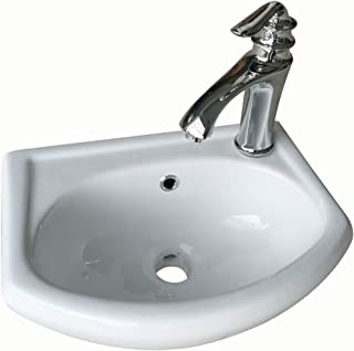 Bathroom Sink Wall Mount White China Small Space Saving Sink