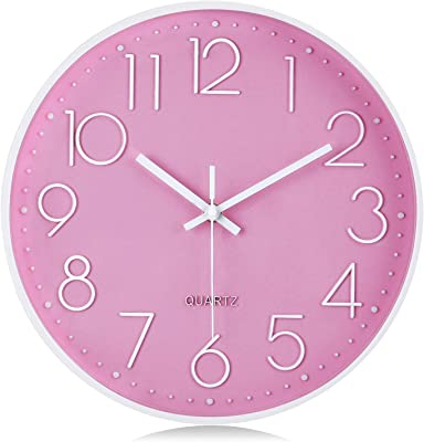 Lafocuse Modern Pink Wall Clock for Girls Room 12 Inch Silent Non Ticking Quartz Clocks with 3D Numerals for Living Room Décor Bedroom